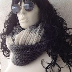 Grey Chunky Cowl Scarf Knitted Neckwarmer Gift for by fairstore
