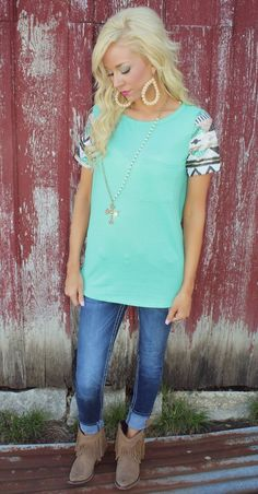 Mint Tribal Sequin Bombshell Top - The Lace Cactus