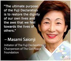Masami Saionji ~ Initiator of The Fuji Delcaration. Chairperson of The Goi Peace Foundation.