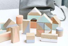 Large wooden blocks: Pastel colours 20 by HappyLittleFolksShop