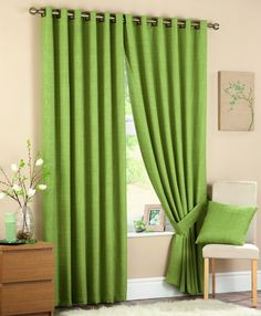 Best 11 Lime Green Curtains for Your Home – # Genel - Landlikes Sites Living Room Green, Living Room Windows, Bedroom Green, Small Living Rooms, Lime Green Curtains, Cream Curtains, Lined Curtains, Bedroom Curtains, Curtains Living