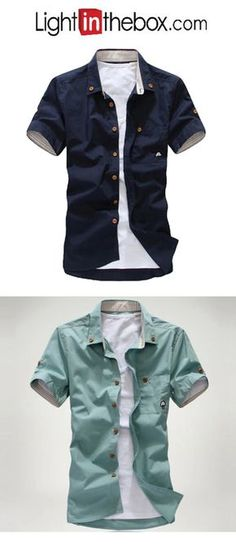 b8bc9cdd9e   8.09  Men s Beach Plus Size Cotton Slim Shirt - Solid Colored Print  Button Down Collar White XL   Short Sleeve   Summer. Camisas Masculinas  BaratasShirts ...