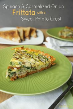 Spinach and Caramelized Onion Frittata with a Sweet Potato Crust-- a healthy and…