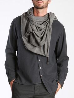 Cotton Scarf with Metal Details by SYNGMAN CUCALA Exclusive Clothing, New Mens Fashion, Find Man, Cotton Scarf, Black And White, Men's Style, Metal, Sexy, How To Wear