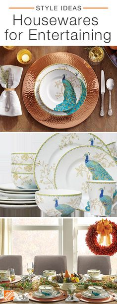 Impress your guests with eye-catching pieces from our housewares collection. The Peacock Garden Set Peacock Decor, Teal And Gold, Dining Room Design, My Living Room, Home Accents, Table Settings, Place Settings, Kitchen Decor, Sweet Home