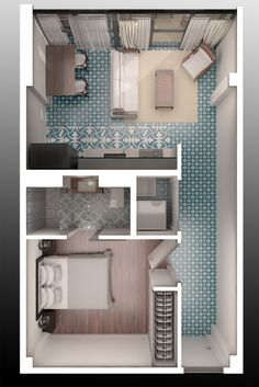 floorplan by muchhahchong Small Apartment Design, Apartment Layout, Small House Design, Home Room Design, Small Apartments, Small House Floor Plans, Modern House Plans, Cute Bedroom Decor, House Rooms
