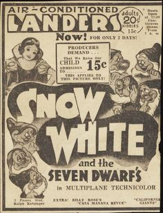 Snow White Theatre Ad from 1938!!