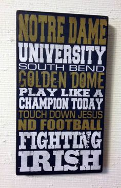 Notre Dame Distressed Wood Sign-Fighting Irish. Dad!
