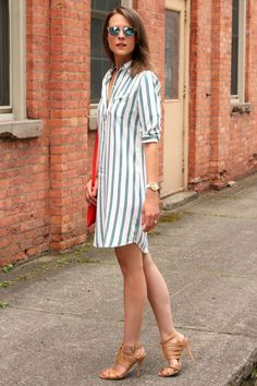 Outfits With Striped Dresses Stitch Fix spring summer outfits, style, clothing, fashion, striped dress Mode Outfits, Dress Outfits, Casual Dresses, Fashion Dresses, Summer Dresses, Summer Outfits, Shift Dresses, Casual Attire, Casual Heels