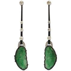 Art Deco Carved Jade Diamond and Enamel Drop Earrings