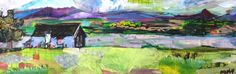 Canadian Afternoon. 12 x 4 inch collage on canvas. Artist, Katherine Horst. www.k-Horst.com #art #landcape #mixedmedia #collage #canada #fineart #paper #painting #artforsale #colorful #moutainscape #Quebeccity