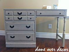 repainted gray distressed desk