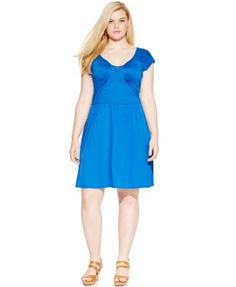 Love Squared Plus Size Short-Sleeve A-Line Dress