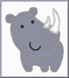 Cute Rhino Zoo Animal Digitized Embroidery Machine Applique Design