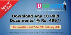 Download any 10 paid documents of price 199/- or below. Validity 30 days