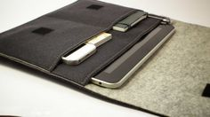 iPad Air Wool Felt Sleeve by BeadyOwlCreative on Etsy // Wouls want dark mottled gray with antique gold inside