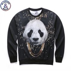 7bf9771df67 Harajuku style of male female 3 d graphics jersey printing  panda interesting Ma Xinji crewneck sweat