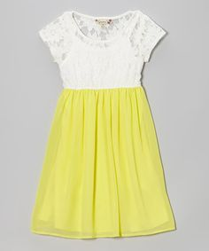 Love this White & Yellow Floral Lace Dress - Girls by Speechless on #zulily! #zulilyfinds