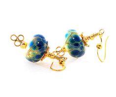 Cobalt Blue Lampwork Bead Earrings. Small Dangle Earrings in Midnight Blue. Small Drop Earrings. Blue Frit Beads. Glass Bead Jewelry.