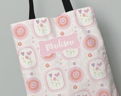Personalized Kid's Tote Bag | My Pink Garden Tote Bag | Kids Gift Idea | All Over Print Tote for Kids | Back to School Canvas Tote Bag