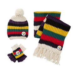 Show details for Pittsburgh Steelers Touch Women's Varsity Stripe Scarf, Hat, and Glove Combo