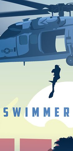 Aviation Rescue Swimmer School SP00514-vintage-military-aviation-travel-poster-art-print-gift