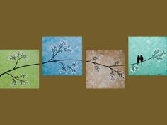 Abstract canvas wall art, love the idea of four continuing canvases for a full picture. Spring blossom love birds =)