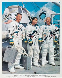 A signed NASA photo of Apollo 10 astronauts Gene Cernan, John Young, and Tom Stafford. (Heritage Auctions)