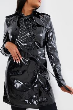 Order the Vinyl Belted Long Line Jacket from In The Style. Shop today with next day delivery available until Patent Trench Coats, Pvc Raincoat, Line Jackets, Rain Wear, Unisex, Vinyl, Mantel, Double Breasted, Macs
