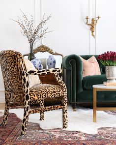 Before & After: A Classic Glamour Living Room Reveal Leopard Living Rooms, Living Room White, Living Room Modern, Living Room Sets, Rugs In Living Room, Living Room Furniture, Living Room Designs, Living Room Decor, Log Furniture
