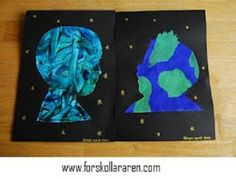 Earth day craft we are all connected to the Earth: finger paint or paint using blue and green on paper, cut out child's silhouette, glue to black construction paper with gold/silver stars.