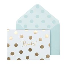 Gold Spotty Thanks Notecard Set by Portico Designs