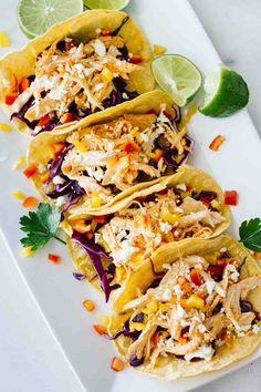 Healthy Sriracha Shredded Chicken Tacos! Perfect for an easy, quick, and healthy weeknight dinner!