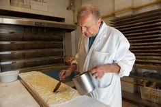 Dino Bartocci preparing pizza bianca dough at Forno Campo de'Fiori.