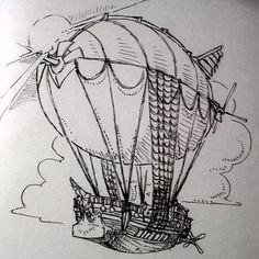 Cool #penandink #steampunk #airship #drawing by @victorkl28. I like this one because it looks like someone just took a #sailing #ship threw the mast away and connected a great big #balloon it. The boat totally looks like it could cut through some #waves and rigging #ropes look very well adapted to maintaining that #zeppelin ballon. Nice work Victor!