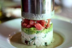 How to build a soup pillar/tower: seen here crab, avocado, watermelon.