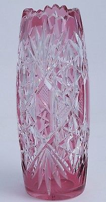 Hand Cut Glass and mouth blown cranberry cut to clear VASE cased glass