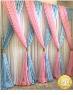 This Would Be Super Cute As A Backdrop For A Unicorn Birthday Party Orrr For Every Day Use In A Unicorn Themed Girls Room (diy party decorations for girls) Baby Shower Gender Reveal, Baby Shower Themes, Baby Shower Decorations, Wedding Decorations, Shower Ideas, Gender Reveal Party Decorations, Baby Shower Backdrop, Blue Party Decorations, Baby Shower Twins