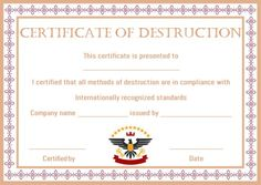 8 Best Certificate Of Destruction Images Destruction