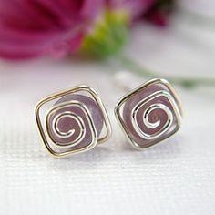 Lavender purple fancy jasper post earrings by SueRunyonDesigns, $14.50