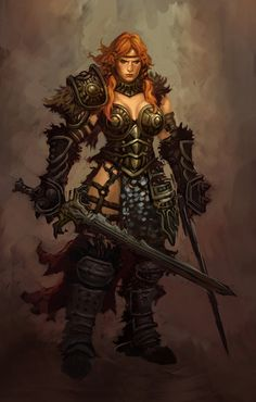 Random character concepts, Phroilan Gardner on ArtStation at… Fantasy Warrior, Fantasy Girl, Dark Fantasy, Warrior Girl, Fantasy Women, Warrior Women, Red Sonja, Fantasy Characters, Female Characters