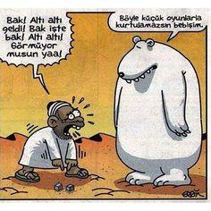 Böyle küçük oyunlarla kurtulamazsın bebişim :)) #karikatur #komik #mizah #caps #col #bedevi #kutup #ayisi #bebisim #karikaturzade