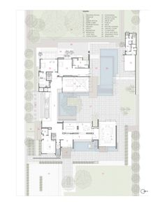 Image 23 of 24 from gallery of Three Trees House / DADA & Partners. First Floor Plan Modern Tree House, Modern House Plans, House Floor Plans, The Plan, How To Plan, Large Floor Plans, Villa Plan, Casa Patio, Courtyard House Plans