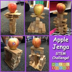 """""""Apple Jenga"""" #STEM Challenge! Kids get an equal amount of blocks and try to build the tallest tower they can that will support an apple.  Such fun!"""