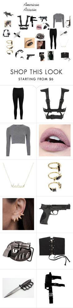 """""""American Assasin"""" by fangirl-24 on Polyvore featuring Boohoo, Fleet Ilya, Glamorous, Noir Jewelry, Anne Sisteron, Smith & Wesson, dylanobrien, fangirl, guns and weapons"""