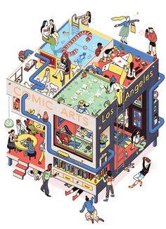 Comic Arts LA poster by Sophia Foster-Dimino Illustration Design Graphique, Digital Illustration, Graphic Illustration, Graphic Art, Isometric Art, Isometric Design, Art Isométrique, Photographie Street Art, Arte Popular