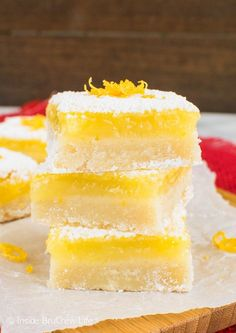 Sweet and sour mix together to create the best lemon bars for your dessert tables. These are great spring or Easter treats.