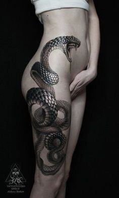Large Snake Thigh Tattoo