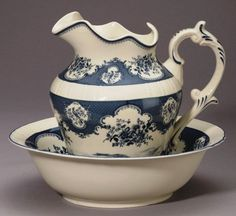 Pitcher & Bowl Set Blue Bird and Floral Toile
