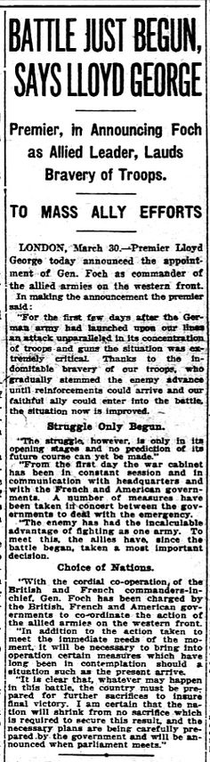 "WWI, 31 March 1918;""Gen. Foch Commander of Allied Armies on the Western Front"" - Evening Star, Washington"